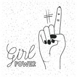 Girl power poster text and hand signal with finger number one in black silhouette over white background with sparkles. Vector illustration Royalty Free Stock Image