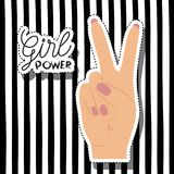 Girl power poster text and hand in skin color sticker making victory signal on vertical striped background Royalty Free Stock Image