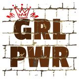 Girl Power printed on stylized brick wall. Textured humorous inscription for your design. Vector stock illustration