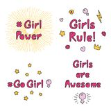 Girl power quotes collection stock illustration