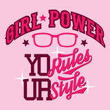 Girl power t-shirt design Royalty Free Stock Photos