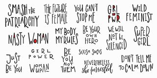 Girl power t-shirt quote lettering set. Girl power t-shirt quote feminist lettering. Calligraphy inspiration graphic design typography element. Hand written card stock illustration