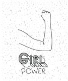 Girl power text with female arm silhouette over white background with sparkles. Vector illustration Stock Photo
