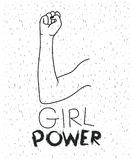 Girl power text with female right arm silhouette over white background with sparkles. Vector illustration Stock Photography