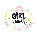 Girl power text in hand drawn floral wreath. Vector feminism slogan. Royalty Free Stock Photography