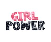 Girl Power Illustration. Girl Power Vector illustration with lettering and feminine objects Stock Photos