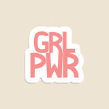 Girl power. Vector poster Girl Power. Abbreviation on pink background. Good for sticker, patch, pin or t-shirt print vector illustration