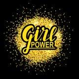 Girl power. woman motivational slogan. Hand lettering sign on golden splash background. Vector illustration. Stock Photos