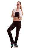 Girl practicing sport full body over white background Stock Image