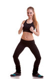 Girl practicing sport full body over white background Royalty Free Stock Photo