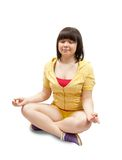 Girl practicing yoga  over white Royalty Free Stock Image