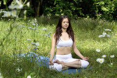 Girl practicing yoga in the park. Young woman doing yoga exercise outdoor Stock Photo