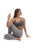 Girl practicing yoga Royalty Free Stock Images