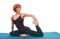 Girl practicing yogatic asana Stock Photos