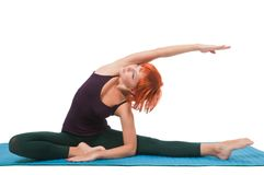Girl practicing yogatic asana Stock Photography