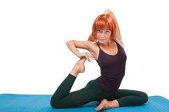 Girl practicing yogatic asana Stock Photography
