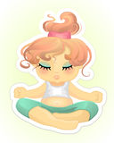 Girl practising yoga. Vector illustration of a girl practising yoga Royalty Free Stock Photo