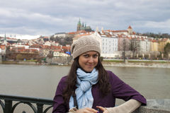 Girl in Prague. Traveller in europe Stock Photos