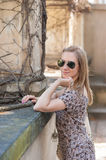 Girl in Prague Castle Royalty Free Stock Photography