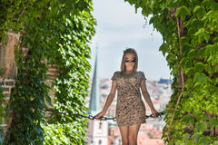 Girl in Prague Castle Stock Photography