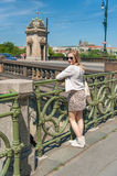 Girl in Prague Streets Stock Photos