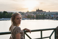 Girl in Prague Streets Stock Photo