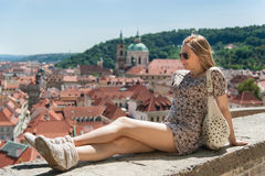 Girl in Prague Streets Royalty Free Stock Photos