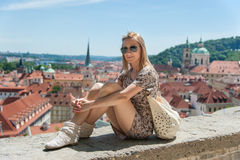 Girl in Prague Streets Stock Images