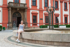 Girl in Prague Troja Castle Royalty Free Stock Photos
