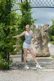 Girl in Prague Troja Castle Stock Photography