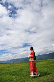 Girl in prairie Royalty Free Stock Photo