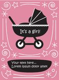 Girl in pram baby carriage cute flat black and white picture wit stock illustration