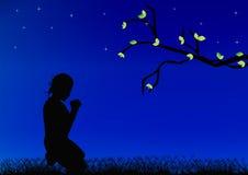 Praying Girl. Girl praying on blue background royalty free illustration