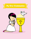 Girl praying.  communion card. My first communion card. girl praying together with a calyx Stock Images