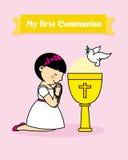 Girl praying.  communion card. Stock Images