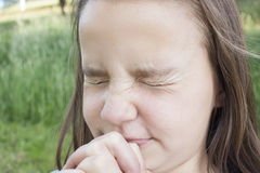 Girl Praying Hard Royalty Free Stock Images