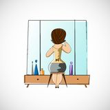 Girl preens before a mirror. Vector sketch Royalty Free Stock Photography