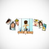Girl preens before a mirror. Vector sketch Royalty Free Stock Images