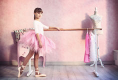 Girl prepare for classical dance lesson. Teen little  girl prepare for classical dance lesson Royalty Free Stock Photography