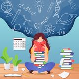 Girl prepare to exam. Young woman sitting read book and thinking about formulas . Education, knowledge concept. School. Girl prepare to exam. Young woman sitting royalty free illustration