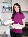 Girl  with prepared store-bought dough at home Stock Photography