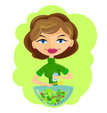 Girl prepares delicious vegetarian salad Royalty Free Stock Photo