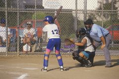 Girl preparing at bat with umpire, Girls Softball game, Brentwood, CA Stock Photography