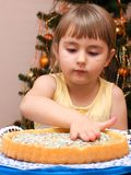 Girl preparing cake Stock Photo