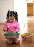 Girl preparing for Easter. A little girl is preparing for Easter stock images