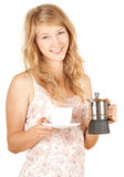 Girl preparing morning coffee Stock Photography