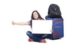 Girl preparing to travel Stock Image