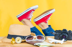 Girl preparing to travel. so happy on yellow. Girl preparing to travel. so happy on yellow Stock Photo