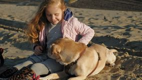 Girl preschool girl on the beach feeds the dog. Spring. Preschool girl with long red wavy hair in warm clothes sitting on the sand on the beach feeds and strokes stock footage