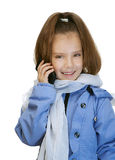 Girl-preschooler in blue jacket Royalty Free Stock Photography